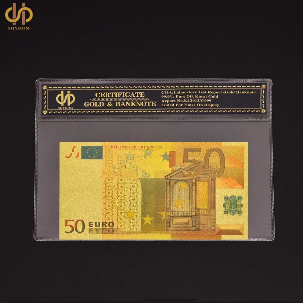 Souvenir Gold Color Banknote Fake 50 Euro Banknote Bill With COA Frame Certificate