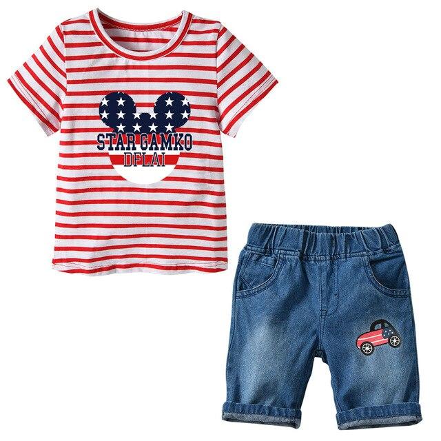 511f0c2054 Lato Baby Boy Zestaw Odzieży Jeans Spodnie + T koszula Dzieci ubrania 2  Sztuk Dla chłopca