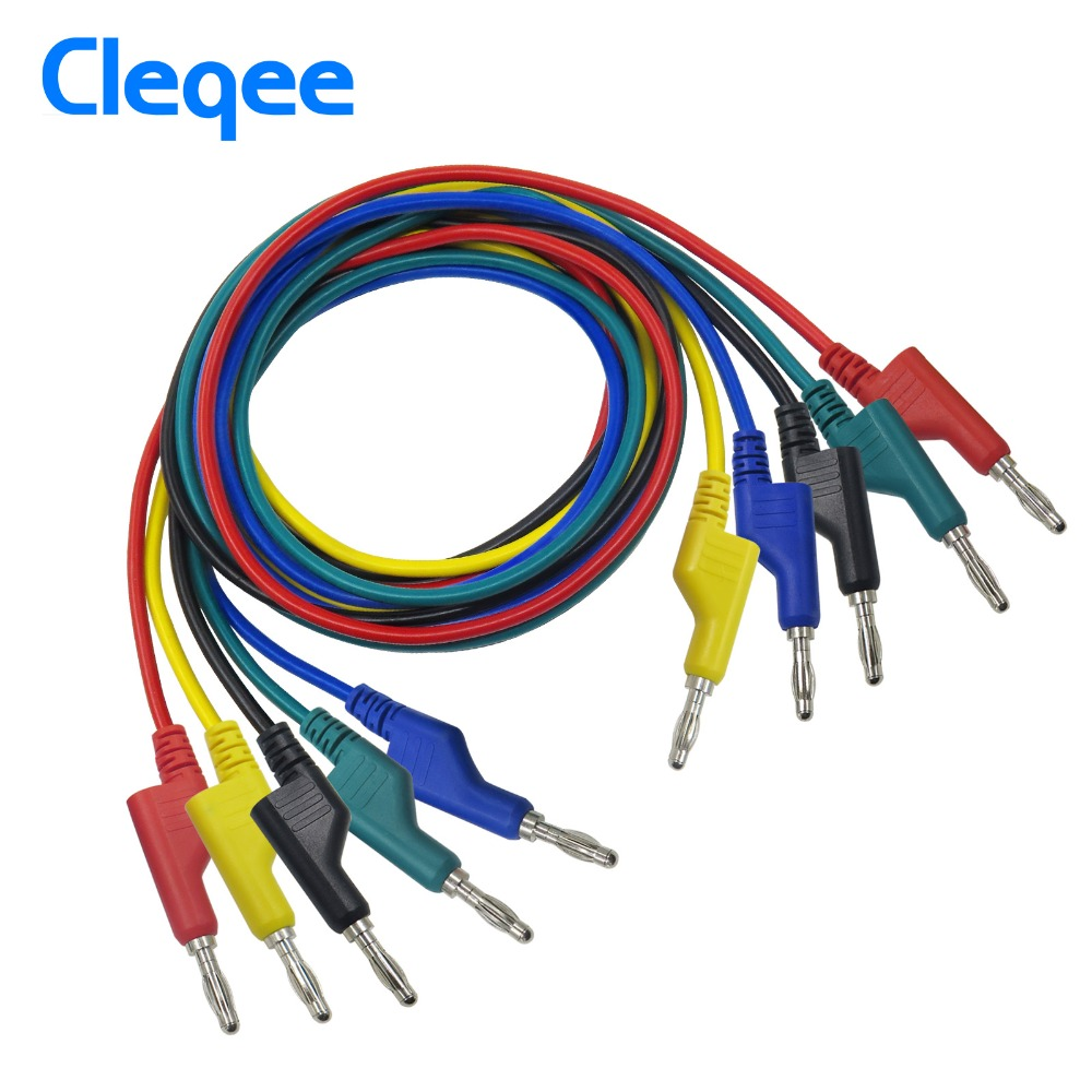 Cleqee P1036 1Set 5pcs 1M 4mm Banana to Banana Plug Test Cable Lead for Multimeter 5 Colors cleqee p1037 1set 5pcs 1m 4mm silicone banana plug to crocodile alligator clip test probe lead wire test cable