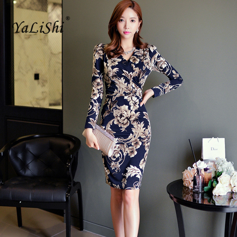 4fb0b5cc3c US $21.76 32% OFF|YaLiShi Autumn Women Dress Blue Print Dresses Office Long  Sleeve V Neck Bandage Sexy Party Vintage Dress 2017 Vestidos De Festa-in ...