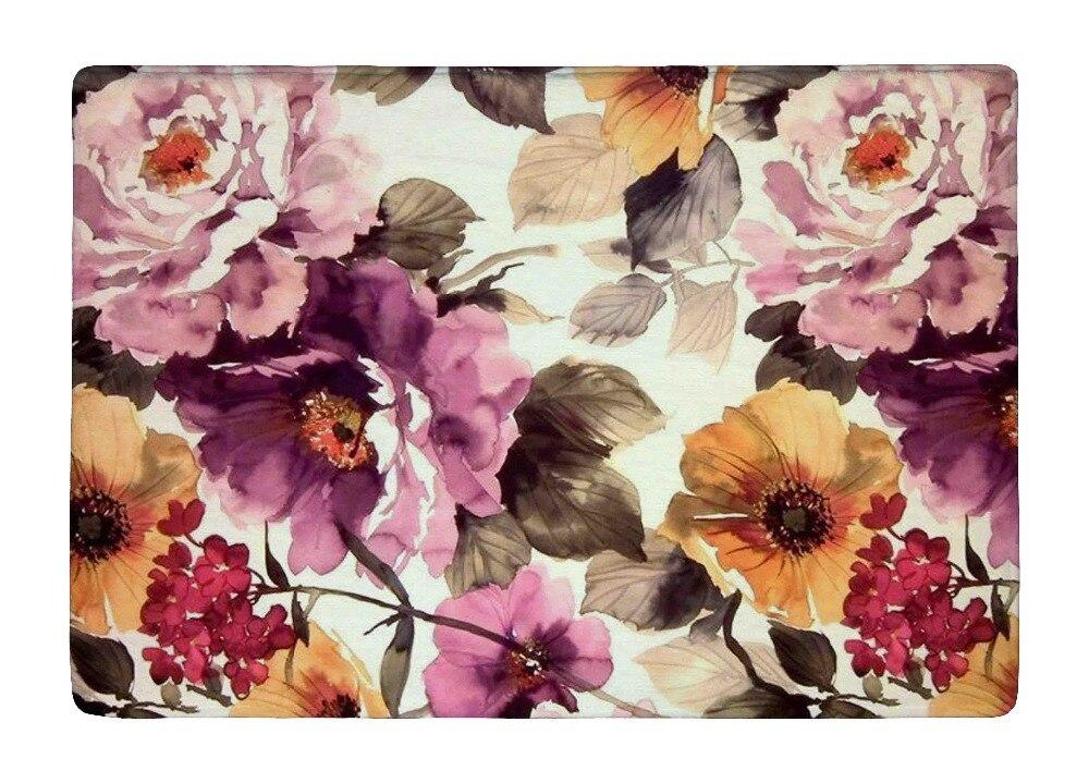 Floor Mat Vintage Elegant Watercolor Peony Flowers Print Non slip Rugs Carpets alfombra For font b
