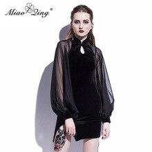 MIAOQING Sexy Chiffon Patchwork Velvet Dress for Women Mini Cheongsam Black Elegant Vintage Lantern Sleeve Dresses Hollow