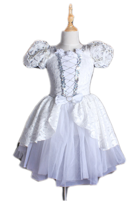 Fall Winter Children S Snow Ballet Dance Dress With Bubble Sleeves Flower Dresses White