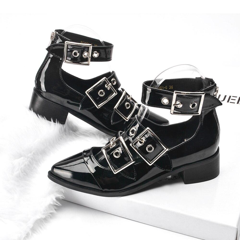 4206c147fb4e Chaussures Femme 2018 Printemps Été Femmes Bottes Femme Chaussures En Cuir  Verni Noir Zapatos Mujer Cheville Sangle De Mode Boucle À Glissière dans  Bottines ...