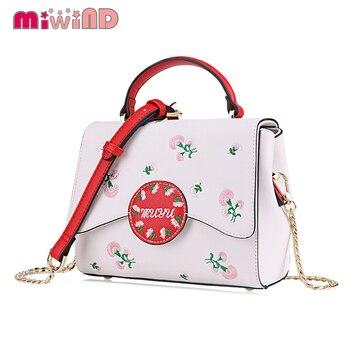 Women Leather Embroidery Handbags Girl Shoulder Bags Messenger Bag Female Totes Braccialini Style Handicraft Art Spring flowers