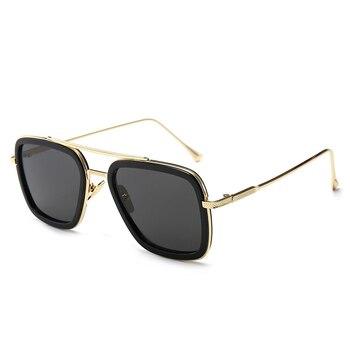 ELM Classic Sunglasses Men Women Retro Metal Frame Square Shades Eyewear Brand Design UV400 Protection Tan Lens Oculos De Sol