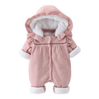 New 2018 Newborn Rompers Winter Cotton Thick Warm Baby Girl Clothes Toddler Long Sleeve Hooded Jumpsuit Kids Outwear for 0 24M