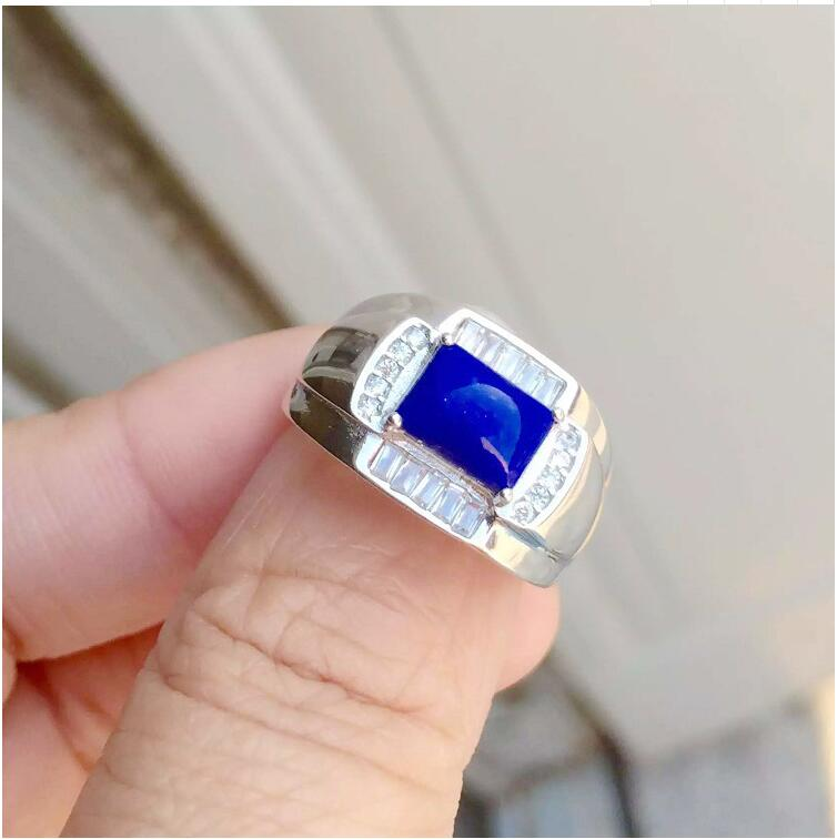 где купить Free shipping Natural Lapis Ring 925 sterling silver Wholesales Fine jewelry Natural Lapis Man Ring 6*8mm по лучшей цене