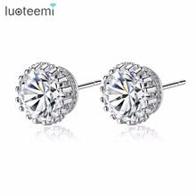 LUOTEEMI Round Crown Stud Earrings For Women Luxury Top Clear Cubic Zirconia White Gold Color Brincos Wedding Earring Jewelry