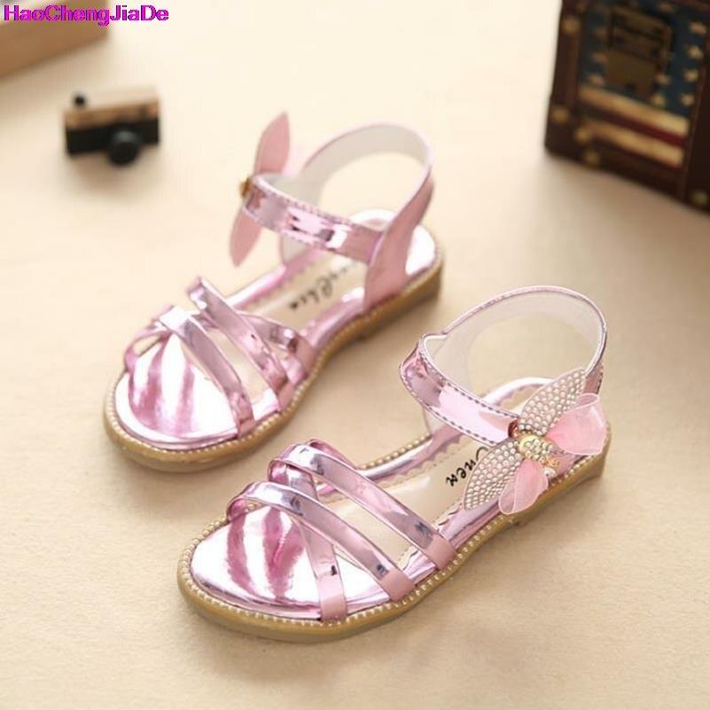 HaoChengJiaDe Nouveau Bébé Filles Sandale Glitter Lettres Filles Chaussures Princesse PU De Mode Enfants Sandales D'été Enfants Sandales Chaussures