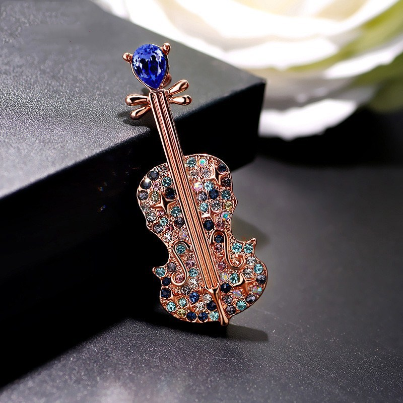 Foreign trade fashion collar men burst violin Brooch corsage Brooch crystal lovers suit