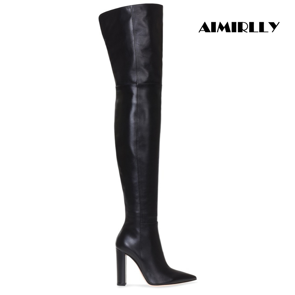Aimirlly Fashion Women Winter Boots Pointed Toe Block Heel Over the Knee Boots Short Zipper Winter