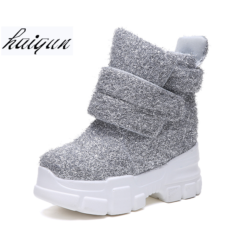 2019 Women Winter Ankle Boots Wedge Platform Sneakers Woman Boots 10CM Height Increaseing High Top Shoes Autumn Botas Feminina-in Ankle Boots from Shoes