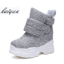 2019 Women Winter Ankle Boots Wedge Platform Sneakers Woman Boots 10CM Height Increaseing High Top Shoes Autumn Botas Feminina(China)