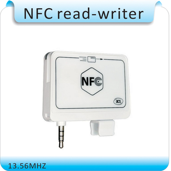 Mini 35mm Jack Audio ACR35 MobileMate Intelligente NFC RFID Card Reader Writer 13.56 mhz Per Android/IOS mobile telefono + Inglese SDK + 5 carta