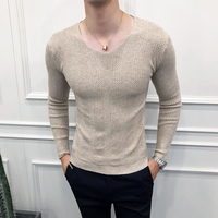 Fashion 2019 New Men Sweater Brand Slim Fit V Neck Pullovers Men Long Sleeve Casual Knitted Autumn Winter Sweaters Men Clothes