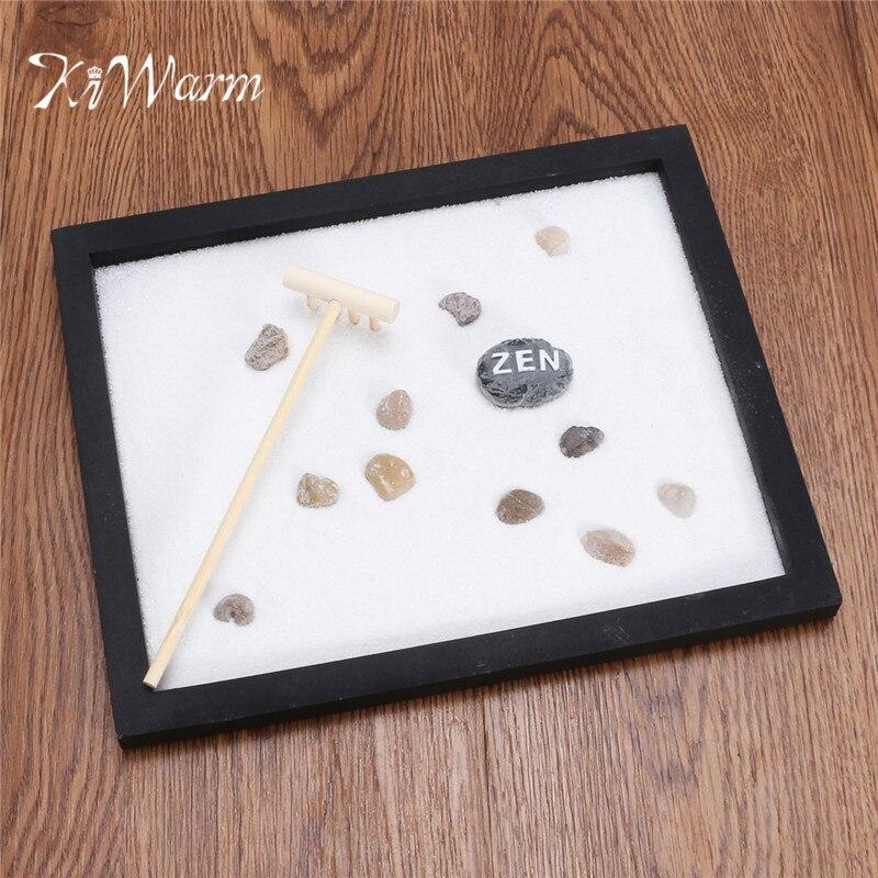 KiWarm Modern Zen Garden Sand Kit Tabletop Yoga Meditation Sand Rocks Rake  Feng Shui Decor Home Ornament Crafts In Figurines U0026 Miniatures From Home U0026  Garden ...