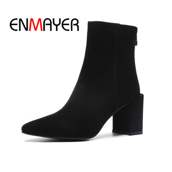 ENMAYER Women Ankle boots Fashion Short boots Big Size34-41 Causal Pointed Toe Thick heels Suede Women Shoes Zipper Black CR1337