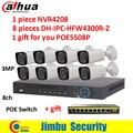Dahua um gravador nvr nvr4208, oito IPC-HFW4300R-Z 2.8mm ~ 12mm lente varifocal motorizada, um switch poe sistema de Vigilância