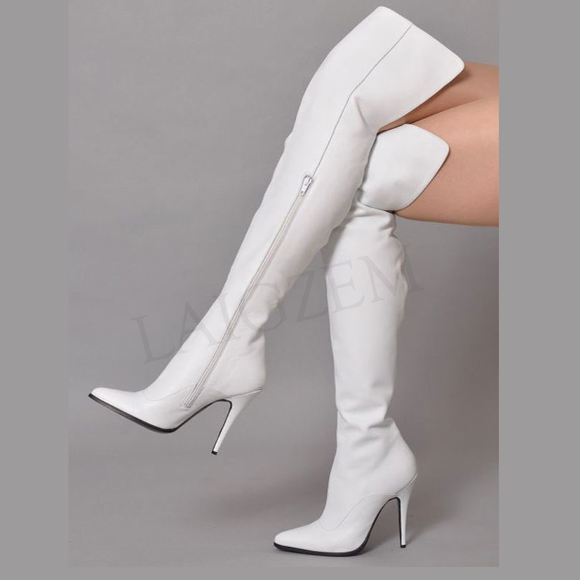 Over Knee High Boots Faux Leather Zip