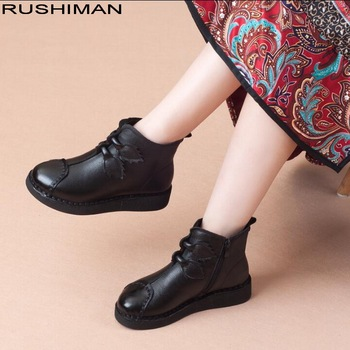 RUSHIMAN Genuine Leather Winter Warm Boots for Women Handmade Ankle Boots Retro Boots Women Round Toe Platform Shoes