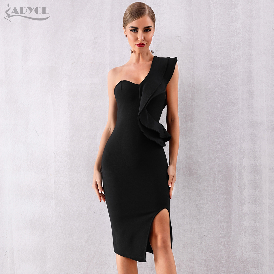 Image 4 - ADYCE 2019 New Summer Women Bandage Dress Sexy One Shoulder Ruffles Bodycon Club Dresses Vestidos Celebrity Evening Party Dress-in Dresses from Women's Clothing