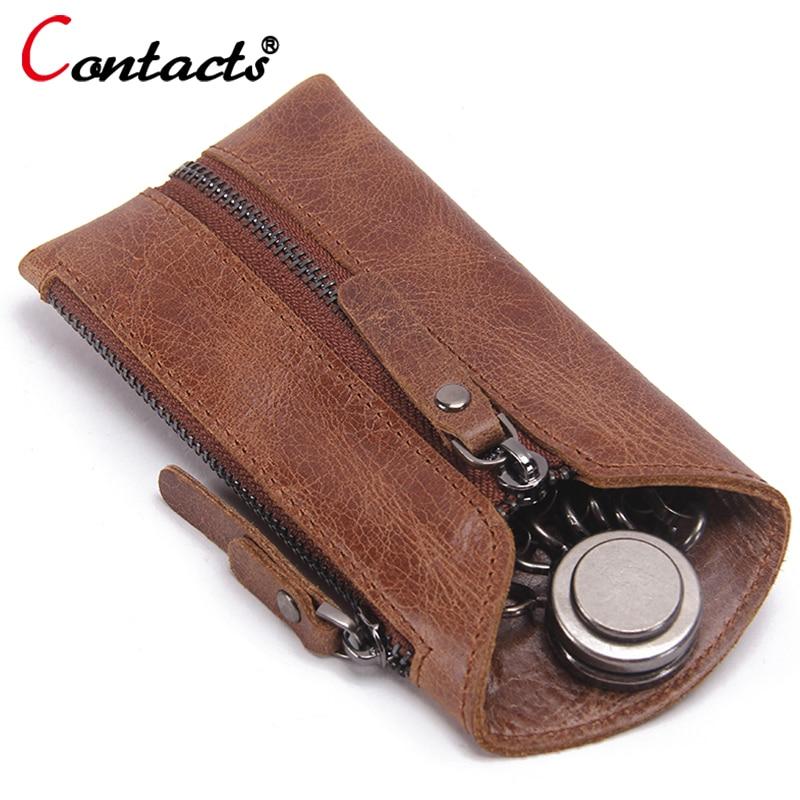 CONTACT'S Housekeeper Genuine Leather Key Wallet Women Housekeeper Key Bag Organizer Keychain Case Key Holder Cases Wallets Men