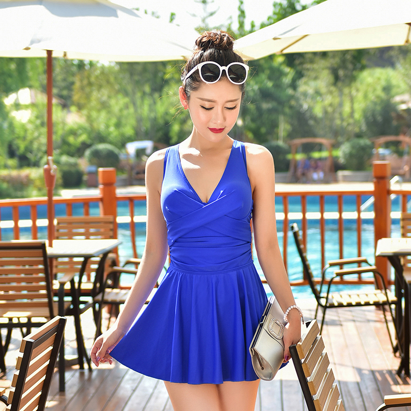 2017 new female conjoined skirt show thin covering conservative one piece swimsuit monokini swimwear women maillot de bain femme