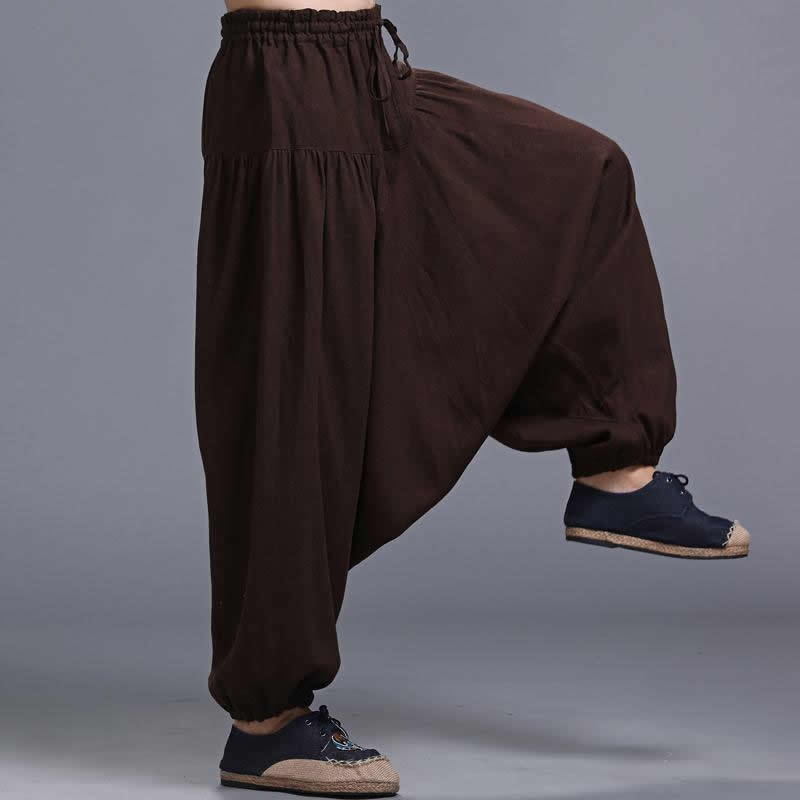 Trousers Aladdin-Pants Harem Nepal Indian Vintage Mens Cotton Linen Casual XL Wide Leg