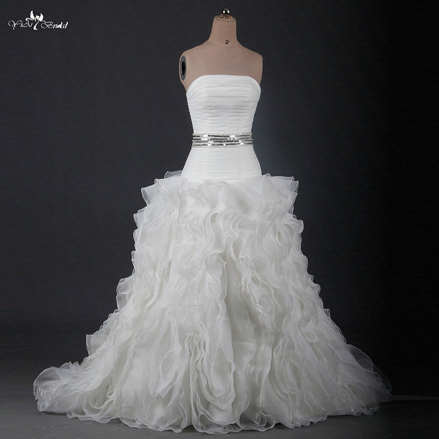 Rsw1207 Real Photos Alibaba China Strapless Dropped Waist Ruffles Organza Wedding Dresses
