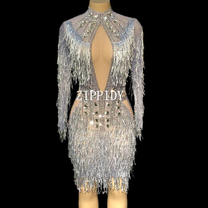 Fashion Crystals Mesh Dress Sexy Rhinestones See Through Stretch Stage Dance Wear Evening Celebrate Fringes Dress