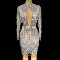 Модные Кристаллы Сетчатое платье пикантные Стразы See Through стрейч этап Одежда для танцев вечерние праздновать Платье с бахромой костюм