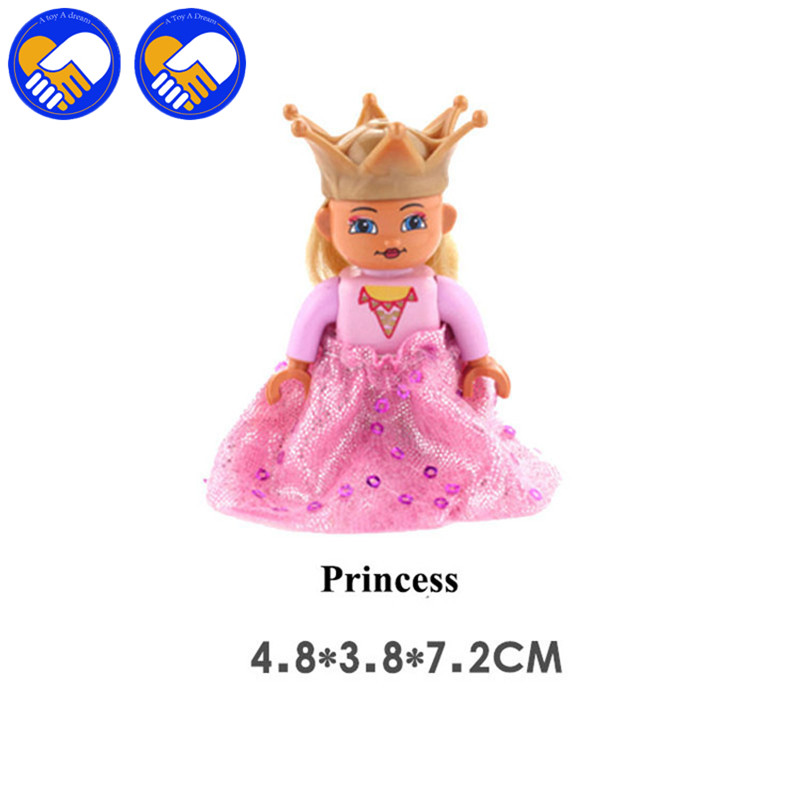 2pcs/set Big Size Action figures In Blocks Compatible DUPLOES Prince kingdom princess Bricks Figure Kids Toys Gifts