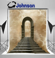 staircase leading heaven hell light tunnel background Vinyl cloth High quality Computer print wall backdrop
