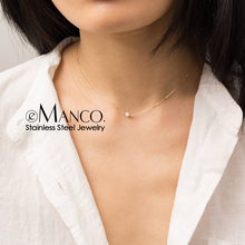 цена на e-Manco Double Layered Necklace for women Dainty Stainless Steel Necklace women Chic Simulated-pearl Pendant Necklace