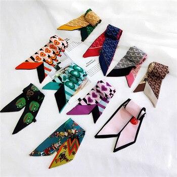 Платок для волос Женский, шарф из шелка и сатина с модным принтом, 6*90 см