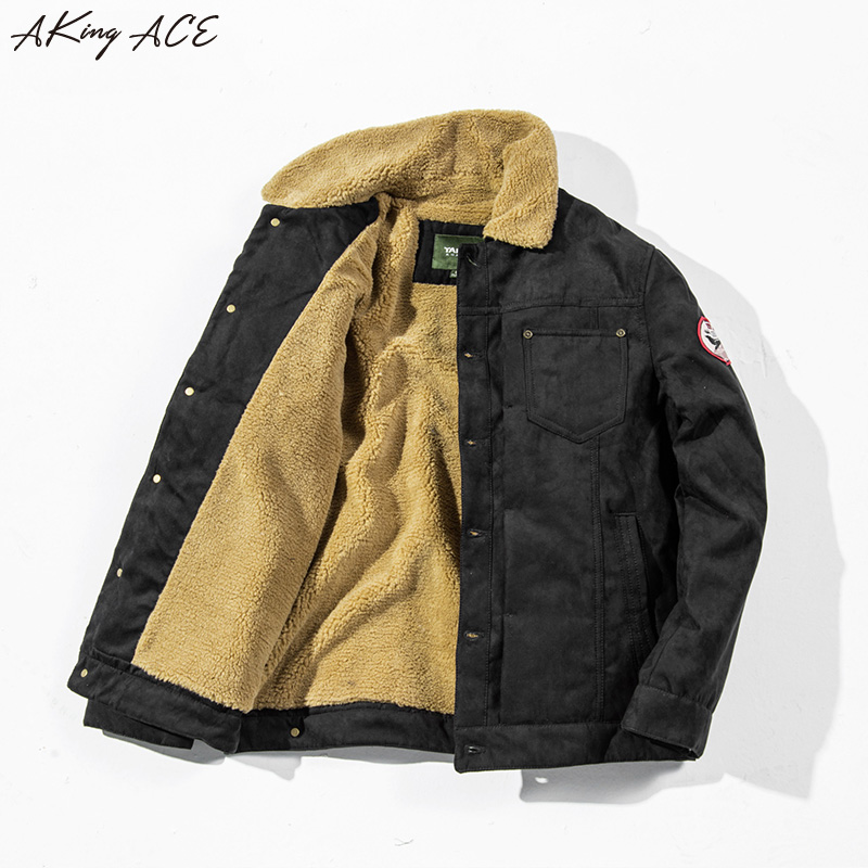 2017 AKing ACE Winter Military Pilot font b Jacket b font Coat Vintage Motorcycle Thermal Fleece