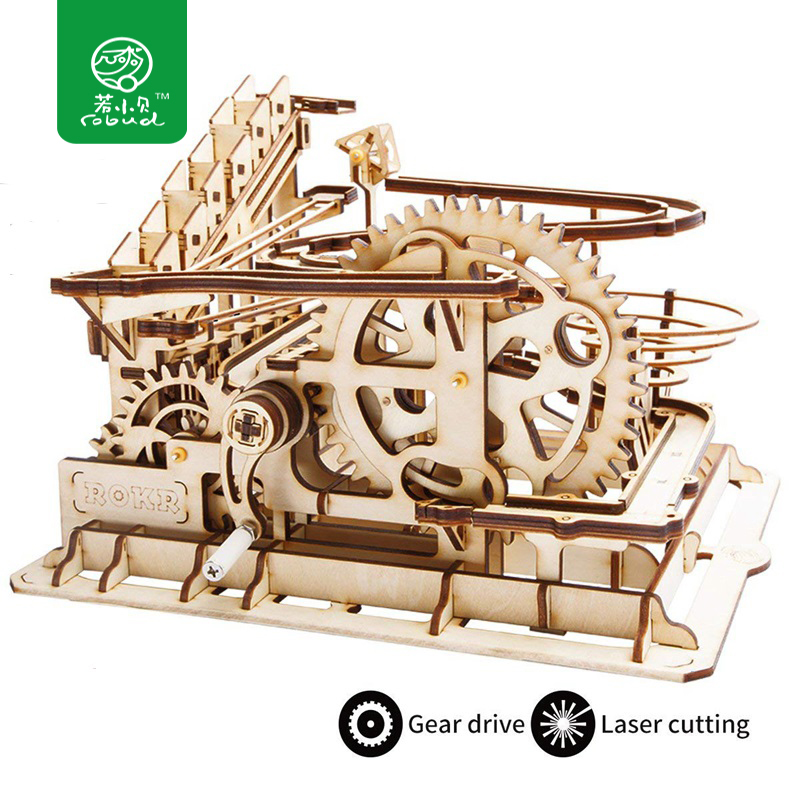 Robud 4 Kinds DIY Run Game Wooden Gear Drive Model Building Kits Mechanical Gift Toy for Children LG501-LG504 for Dropshipping