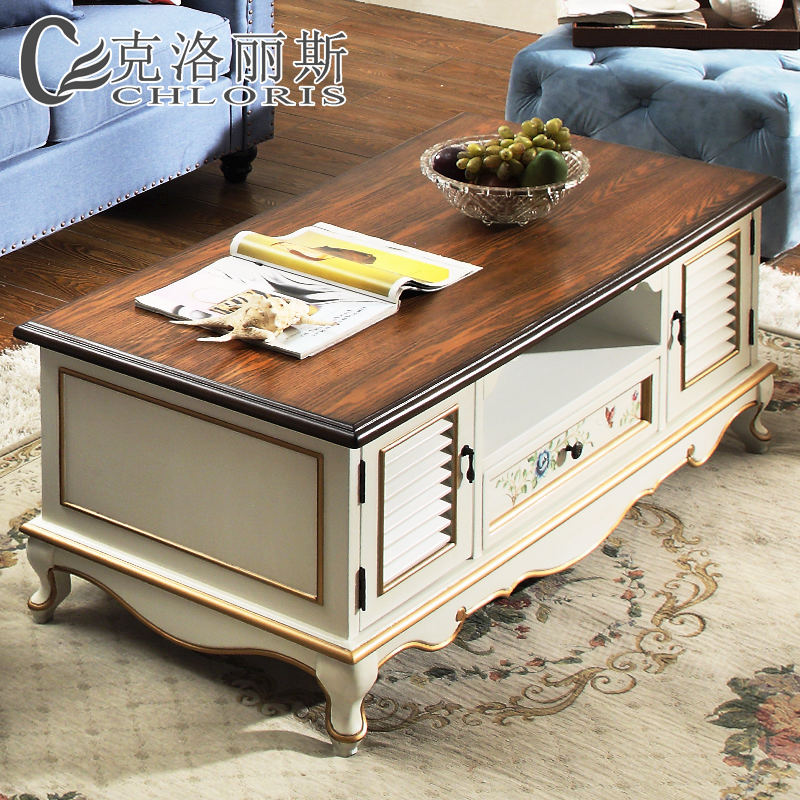 American Country European Solid Wood Coffee Table Painted