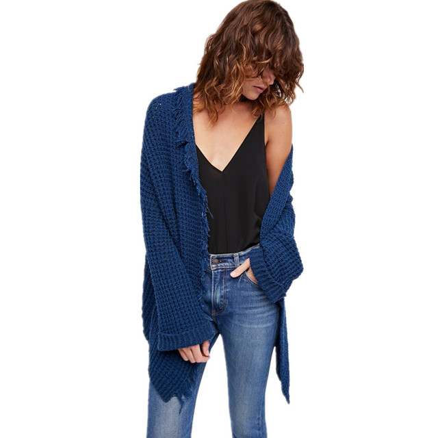 Navy Cardigan Sweaters Women Knitted Loose Chunky Knits Open Front ...