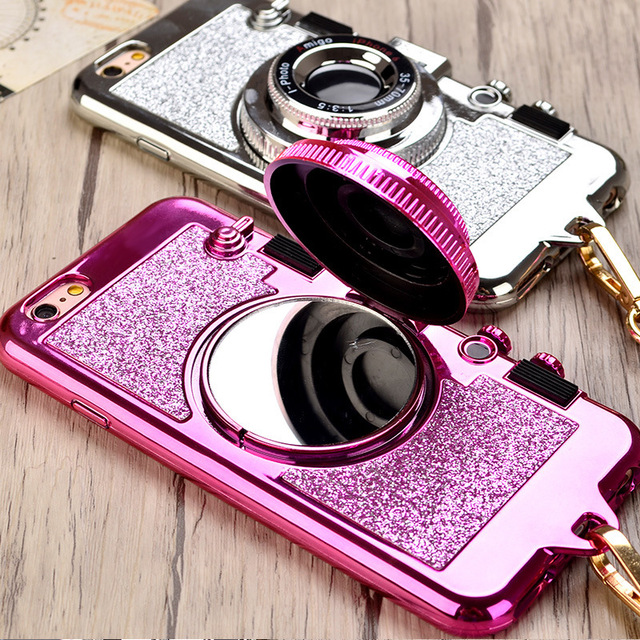 pretty nice fdfff 3658d US $3.48 18% OFF|Retro Camera Neck Strap Phone Cases For iPhone XS Max XR X  10 7 8 Plus 6s Rubber Silicone Case Makeup Mirror Stand Cover Lanyard-in ...