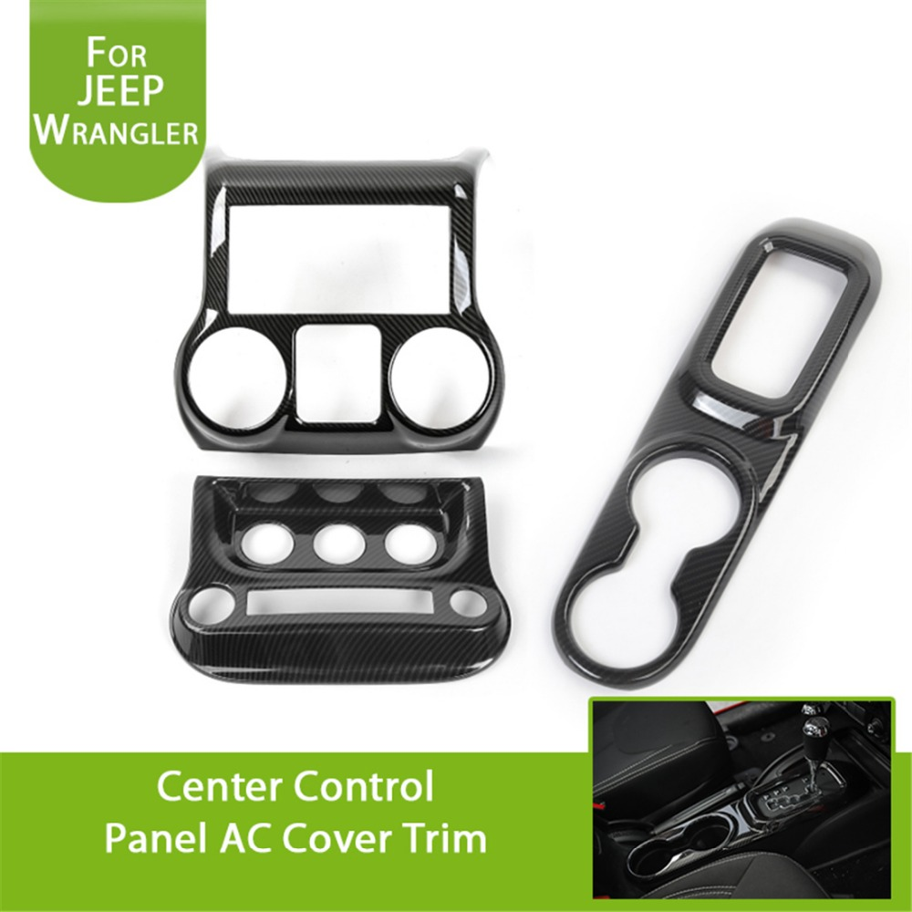 Carbon Fiber Center Control Panel Air Conditioning Switch Gear Shift Panel & Water Cup Holder Cover for Jeep JK Wrangler 2011-17