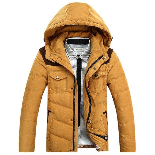 Новый 2015 Случайный 90% Белая Вниз обивка Зимняя Куртка Мужчины Высокого Качества С Капюшоном Пальто