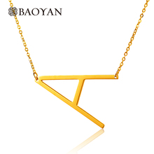Chic Letter Necklaces Pendants Alfabet Initial Necklace Gold Color Stainless Steel Choker Necklace Women Jewelry Kolye CollierA5