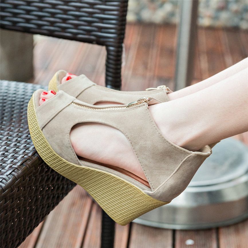 Sandals Shoes Platform Wedges Peep-Toe Ladies Fashion-Style Casual M9 -30