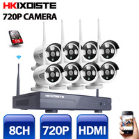 8CH 720P HD Outdoor IR Night Vision Video Surveillance Security 8pcs IP Camera WIFI CCTV System