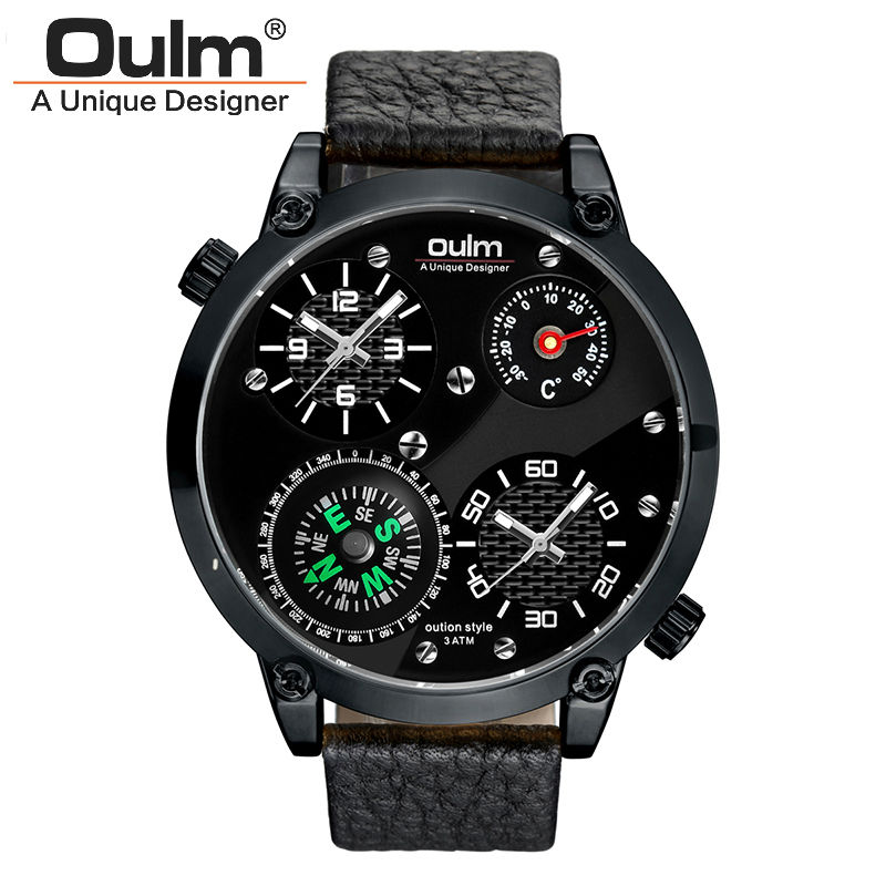 mens watches top brand luxury oulm military thermometer compass design sport 2 time zone double movement quartz waterproof watch thermometer watch compass watch two time zone display dual movt quartz watch for men oulm 1349