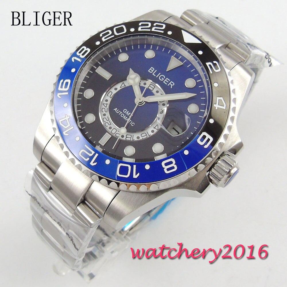 43mm Bliger black blue Dial Ceramic bezel Date GMT Sapphire Glass Luminous Hands Mingzhu Automatic Movement Men's Watch цена