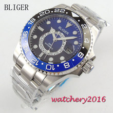 43mm Bliger black blue Dial Ceramic bezel Date GMT Sapphire Glass Luminous Hands Mingzhu Automatic Movement Men's Watch