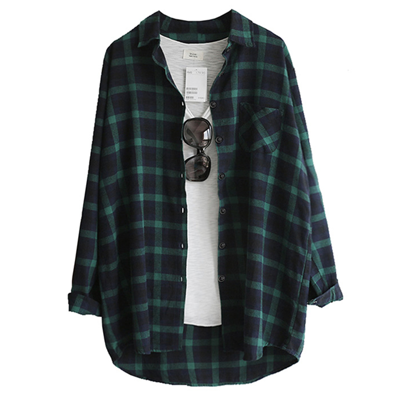 Women Plaid Blouse Shirt Femininas Blusas 2019 Female Blouses Spring Autumn Fashion Casual Loose Tops Long Sleeve Cotton Shirts